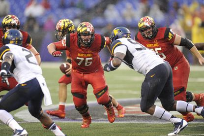 Maryland lineman Michael Dunn (76) could move to right tackle for the Terps' game Saturday at Michigan.