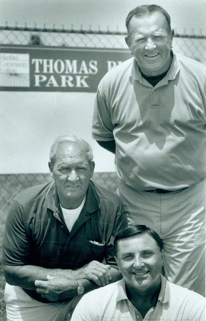 Current Harford Community College trustee John Haggery, top, stands with his crew at Thomas Run Park in 1993, the late Bob Coale, center, and the late Jerry Bounds. Haggerty has been uncharacteristically mute about the way the college administation has handled the management of what it now calls Harford Sports Complex.