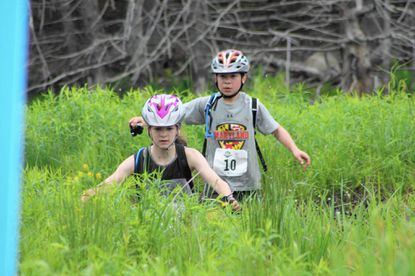 Madi Geidel and Jack De Mola compete in the second annual Kids Adventure Games at Snowshoe Mountain, W.V.