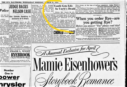 Thw Sun reported Arthur Biddle's murder conviction and sentencing in brief, upper right, on March 31, 1954.