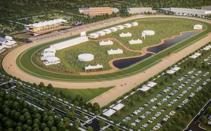 A $389 million renovation plan for Baltimore's Pimlico Race Course, shown in this rendering, and Laurel Park in Anne Arundel County is moving forward in the Maryland General Assembly.