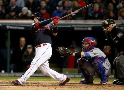 The Cleveland Indians' Roberto Perez hits a solo home run in the fourth inning against the Chicago Cubs during Game 1 of the World Series on Tuesday, Oct. 25, 2016, at Progressive Field in Cleveland.