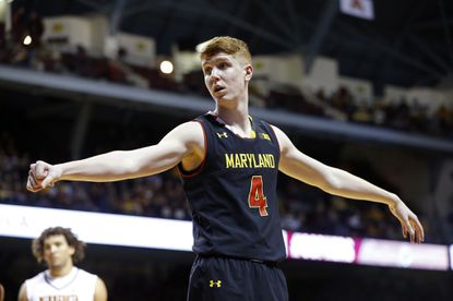 Maryland's Kevin Huerter plays against Minnesota during the first half of an NCAA college basketball game Saturday, Jan. 28, 2017, in Minneapolis.