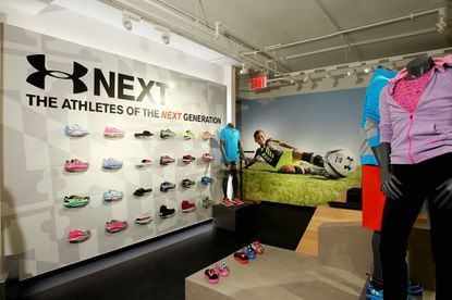 The shoe wall at Under Armour's Broadway store in New York's SoHo.
