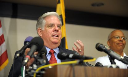Maryland Governor-elect Larry Hogan, shown speaking the morning after his election, will attend and speak at the Dec. 1 inauguration of Harford County's new county executive Barry Glassman and the county council, to be held at the APG Federal Credit Union Arena at Harford Community College.