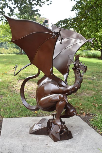 """""""Mosegaard"""" by Karl Saar will be on display outside the Howard County Library System's Central Branch as part of the Howard County Arts Council's ARTsites project, a collection of 12 outdoor sculpture works by juried artists on display around the county from now until July 2021."""