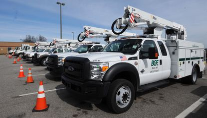 BGE trucks wait to be called into service.