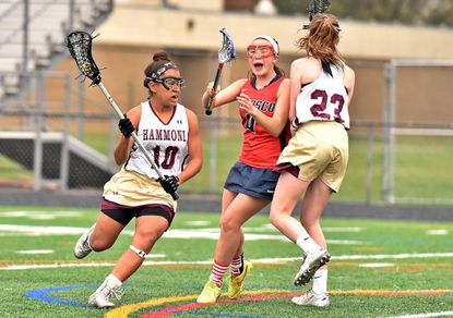 Hammond's Zoe Perkins, shown here in a game earlier this season against Patapsco, scored a game-high eight goals Friday, April 8 to help the Golden Bears earn a 13-9 win over Wilde Lake.