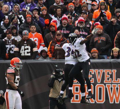 Ravens rookie running back Bernard Pierce celebrates with teammate Torrey Smith after scoring his first career touchdown.