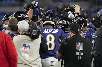 Baltimore Ravens' quarterback Lamar Jackson after a game against the Tennessee Titans, in Baltimore, on Jan. 11, 2020. The Ravens' offense was part sandlot and part leather helmet throwback, plus a dash of rugby. It was unique, thrilling and unpredictable, and it worked. Until the playoffs, that is.