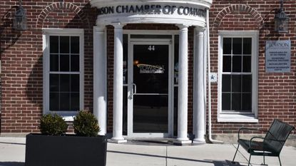 A planter stands outside the Towson Chamber of Commerce on March 26, 2018. The planter, which will be filled with flowers in the summer, is one of 46 that the Chamber will put up around Towson, director Nancy Hafford said.