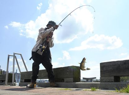 Linwood Franklin, 87, of Baltimore catches a catfish while fishing at the Fells Point Pier.