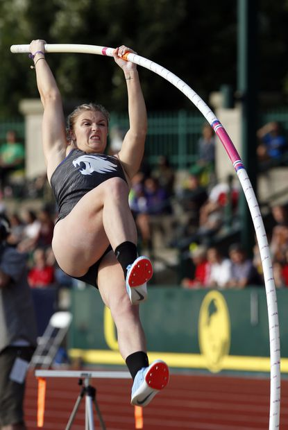 Kentucky's Olivia Gruver (Franklin) won the women's pole vault at the NCAA Outdoor Track and Field Championships at Hayward Field on Thursday with a vault of 14-feet-11.
