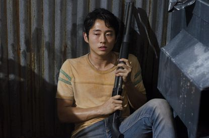 Glenn (Steven Yeun) is scared of the dark, doesn't like ghosts, and hearts Maggie.