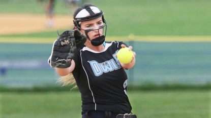 Westminster's Jill Haines pitches against Liberty in county softball action from 2017.