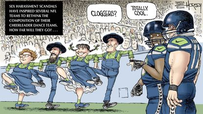 As the NFL reworks its cheerleading teams amid harassment scandals, David Horsey asks what's next: cloggers?