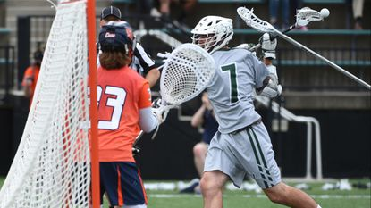 Loyola's Pat Spencer had three goals and nine assists in the Greyhounds' win over Syracuse.