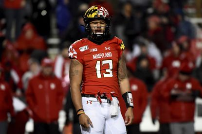 Maryland quarterback Tyler DeSue looks on during the second half of a game against Nebraska in 2019.