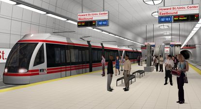 An illustration of what would have been the underground Howard Street/University Center stop of the Red Line, the $2.9 billion, 14.5-mile east-west light rail project in Baltimore than Gov. Larry Hogan cancelled early in his first term. Maryland is spending less and less on new transit projects in the city.