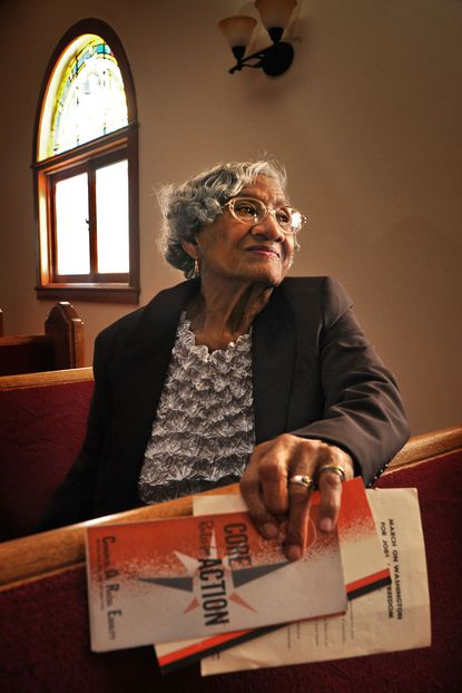 Hannah Chambers, 80, of Annapolis, who participated in the 1963 March on Washington, was photographed at her church, Mt. Olive Church. The retired teacher still has an organizing manual from that civil rights milestone, and brochures from CORE, a group she belonged to. A plaque to recognize the participants is planned for display in Annapolis.