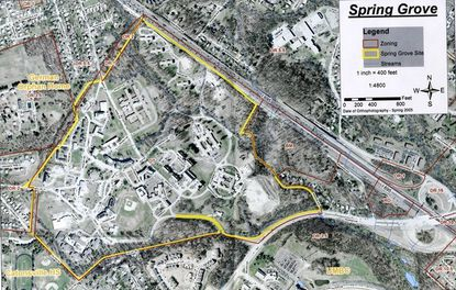 In 2006, the boundaries for Spring Grove Hospital Center included The Children's Home at the upper left, the Baltimore Beltway at upper right, Paradise Avenue at right, and Valley Road and Wilkens Avenue at bottom. The 136 acres of the hospital's original site were purchased for $14,000 in 1852 and named for the many lakes and springs found on the wooded property.