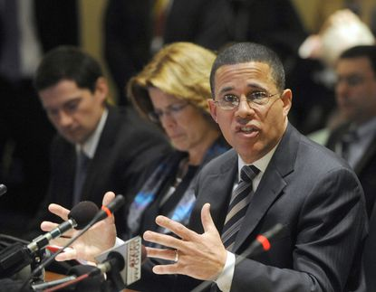 Lt. Gov. Anthony Brown testifies to the House Health and Government Committee about Maryland's health exchange.
