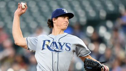Tyler Glasnow of the Tampa Bay Rays pitches seven shutout innings against the Orioles on Friday night to improve to 6-0.