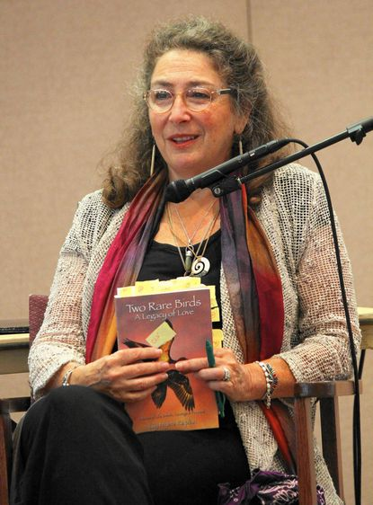 Author Lily Myers Kaplan is shown during her recent presentation at Carroll Lutheran Village.
