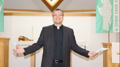 Faith Lutheran Church Pastor Christopher Sperb greets congregational members and guests for the National Day of Prayer in 2018. Faith Lutheran is holding an open house from 11 a.m. to 4 p.m. for the National Day of Prayer on Thursday, May 2.