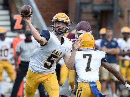 Annapolis Area Christian School quarterback Ryan Idleman threw a 35-yard touchdown pass to Jaylon Carver with 15 seconds left in the game to give the Eagles their first win of the year, topping the Admirals.