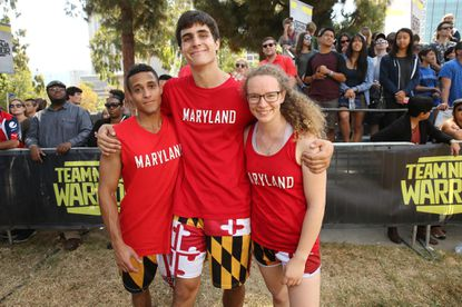 "From left, University of Maryland students Marcos Colon-Pappaterra, Kevin Merrick and Delaney Jordan at the ""Team Ninja Warrior: College Madness"" competition this summer."