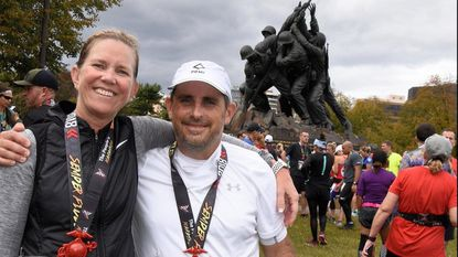 Kelly and Barry Friedman after finishing the Marine Corps Marathon on Nov. 4, 2018.