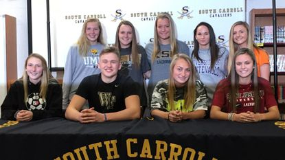 South Carroll's signing day ceremony Nov. 14, 2018. Bottom row, from left: Jamie DiTullo, Cole McNally, Jenna McDermott, Riley Evans. Top row, from left: Shannon Finch, Mia Mackenzie, Abbey Behn, Brooke Sadler, Hallie Thomas. Not pictured: Victoria Kaufman.