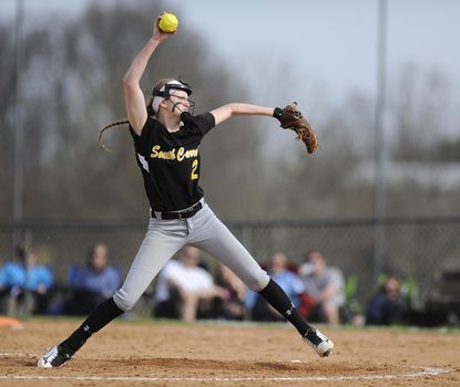 South Carroll pitcher Chloe Sharman throws a pitch in the third inning of the Cavaliers win over Century in Eldersburg Monday, April 10, 2017.