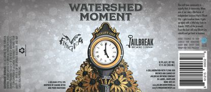 Profits from Watershed Moment Belgian IPA, a new collaboration between Flying Dog Brewery and Jailbreak Brewing Company, will be donated to Ellicott City flooding relief efforts.