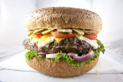 The 9 Pounder at BGR: The Burger Joint is one of several daunting menu items at Howard County eateries. With its bun and condiments, it weighs about 15 pounds. It's free to those who can finish it in one sitting, but no one has met the challenge since the eatery opened in May.