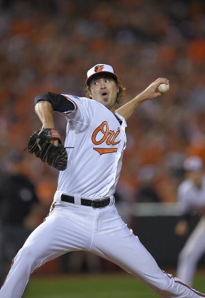 Left-hander Andrew Miller fits well in back of the Orioles' dominating bullpen