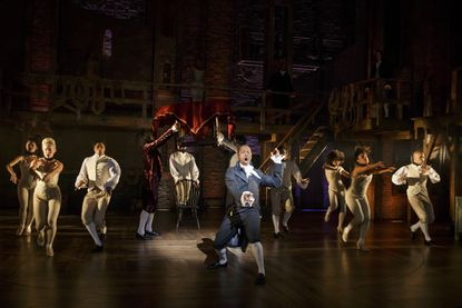 """A scene from the hit musical """"Hamilton"""" with Leslie Odom, Jr."""