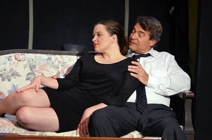 """Kat McKerrow and Ken Krintz in a scene from """"Bell, Book, and Candle,"""" the current show at Laurel Mill Playhouse."""