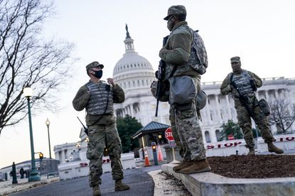 National Guard troops outside the U.S. Capitol on Capital Hill on Wednesday, Jan. 13, 2021, in Washington, D.C. The House of Representatives convened for a session to take up articles of impeachment against President Donald Trump, nearly a week after an insurrectionist mob of pro-Trump supporters breached the security of the nation's capitol. (Tribune News Service).