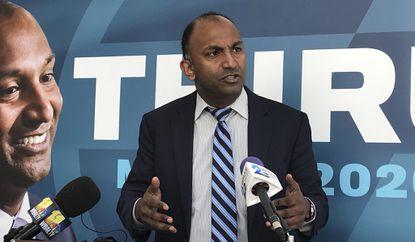 Baltimore mayoral candidate Thiru Vignarajah speaks Jan. 21, 2020, at a news conference at his campaign headquarters.