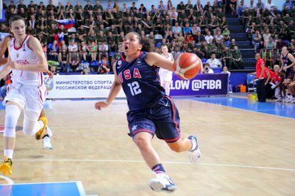 Maryland basketball commit Destiny Slocum carries the ball at the 2015 FIBA U19 World Championship in Russia.