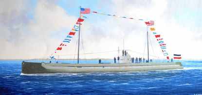 Painting of the Deutschland outbound from Baltimore in the Craighill Channel on Aug. 2, 1916. This piece was painted by Capt. Brian H. Hope, a retired Chesapeake Bay pilot and a member of the Association of Maryland Pilots. The Arnold resident is also a self-trained maritime painter. - Original Credit: