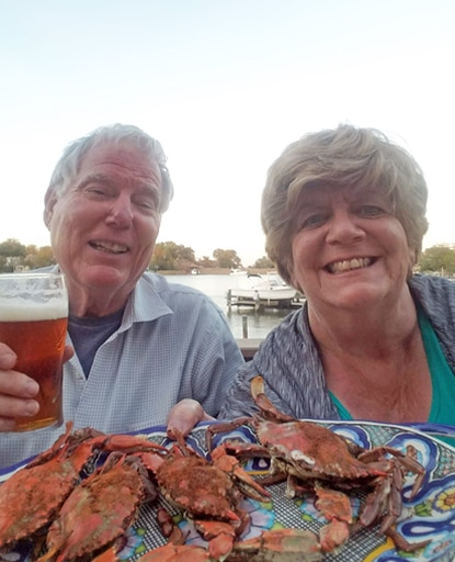 Gerald and Carol enjoy their last crabs of the season on Oct. 15 on their deck on Oyster Creek where they caught this fat, delectable fall crustaceans.