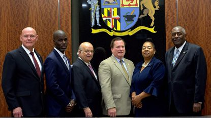 The newly elected Laurel City Council was sworn into office on Nov. 13 at the Laurel Municipal Center. From left, Carl DeWalt, Keith Sydnor, Mike Leszcz, Mayor Craig Moe, Valerie Nicholas and Fred Smalls.