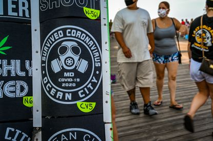 COVID-19 themed t-shirts are among the novelty items being offered at Sunsations on the Ocean City boardwalk this year.