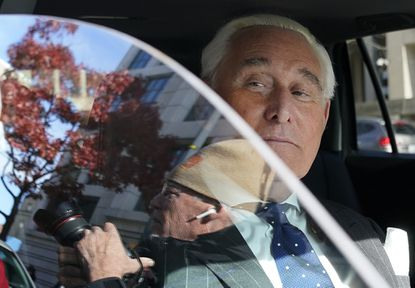 Roger Stone, former advisor to President Donald Trump, departs the federal courthouse in Washington after being found guilty of obstructing a congressional investigation into Russia's interference in the 2016 election on Nov. 15, 2019.