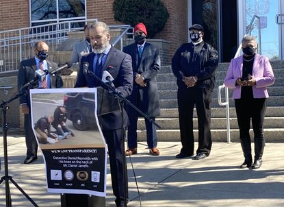 In a press conference Wednesday, local Black activists Carl Snowden and Bishop Antonio Palmer (pictured) urge Anne Arundel County Police to livestream a disciplinary hearing for an officer accused with kneeling on a Black man's neck during a traffic stop in 2019. The police are broadcasting the hearing on a private network to five locations around the county.