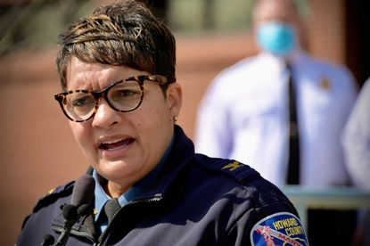 Howard County chief of police Lisa Myers speaks about the arrest and charging of a county resident and former local police chief with multiple counts of arson and other charges.