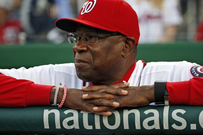 In this photo taken April 11, 2016, Washington Nationals manager Dusty Baker pauses before a baseball game against the Atlanta Braves at Nationals Park in Washington.